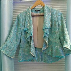 Turquoise tweed jacket 12P